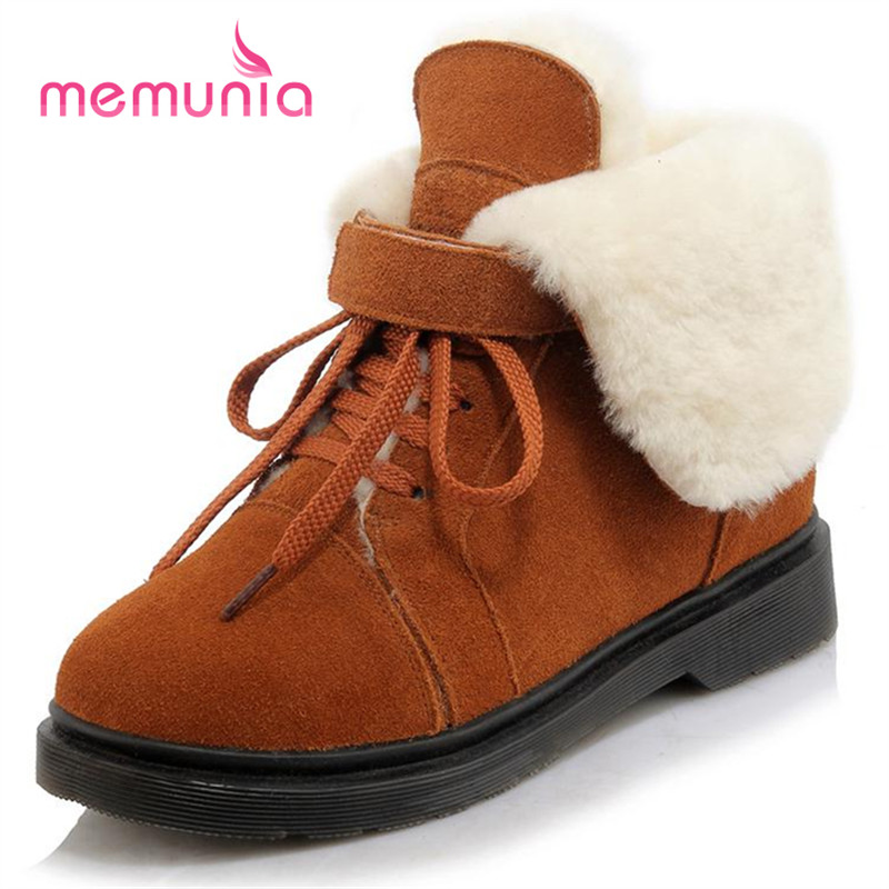 MEMUNIA Snow boots women flat shoes leisure fashion cowhide leather winter lace-up ankle boots size 34-40 solid