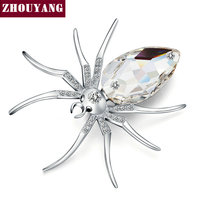 Top Quality ZYX028 White Spider 18K White Gold Plated Fshion Brooches Jewelry Austrian Crystal Wholesale