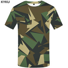 KYKU Brand Green Camo T-shirt Men Camouflage Tshirt Printed Geometric T-shirts 3d Military Tshirts Casual Abstract Anime Clothes