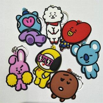 BTS Bangtan Boys Figures Toys keychain bt21 Youpop KPop Kim Tae Hyung V Jung Kook Rabbit Cooky Fans Key Bag Pendant Dolls 10pcs toy story bunny toys