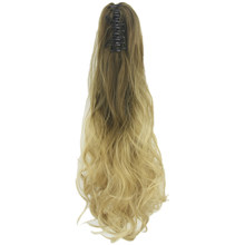 e73cf99e24c Soowee Wavy Brown Grey Ombre Hair Claw Ponytail Synthetic Hair Long Clip In  Hair Extension Hairpiece Pony Tail for Women