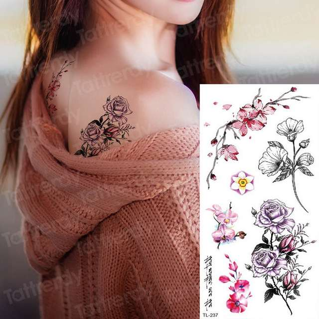 Sexy Temporary Tattoos For Women Girls Back Tattoo Flower Water