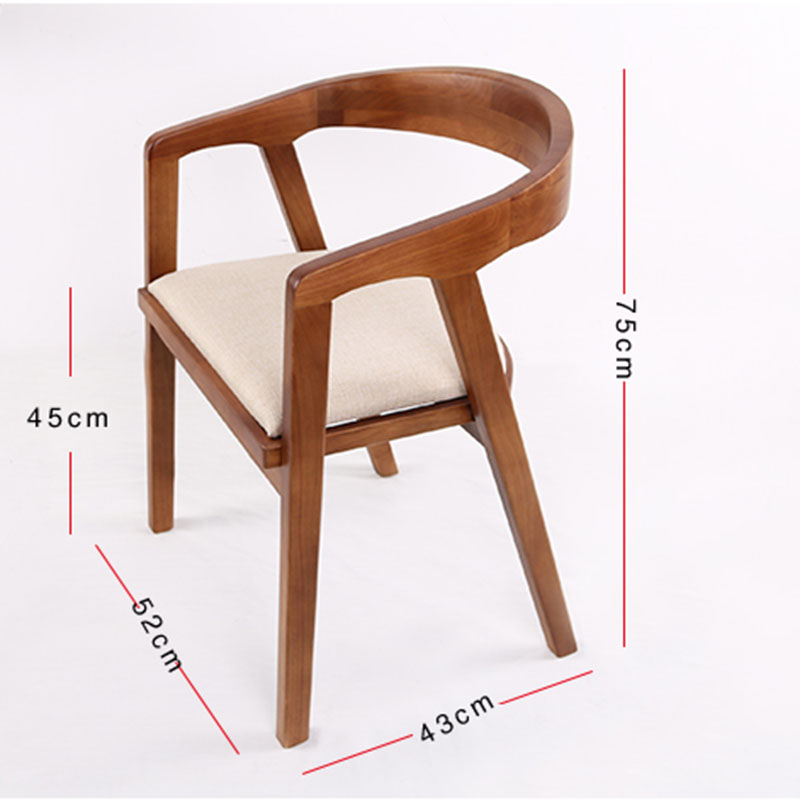 Nordic Wooden Dining Chair American Vintage Home Furniture Coffee Restaurant Bedroom Study Casual Simple with Armrest Back Chair in Dining Chairs from Furniture