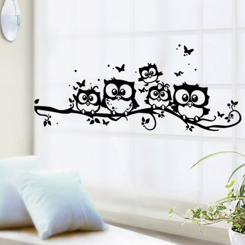 Free Shipping OWL Bird Branch Creative Cartoon Background Removable Wall Stickers Parlor Kids Bedroom Home Decor Mural Decal 117