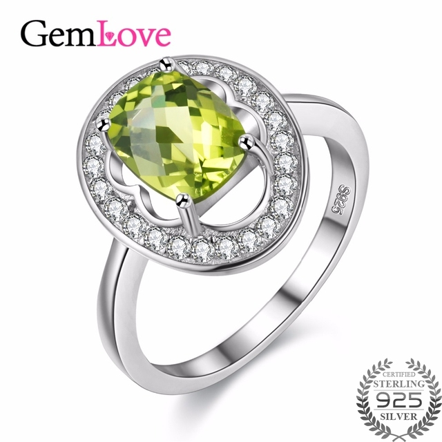 Gemlove 925 Sterling Silver Peridot Rings for Women Tested Ringen