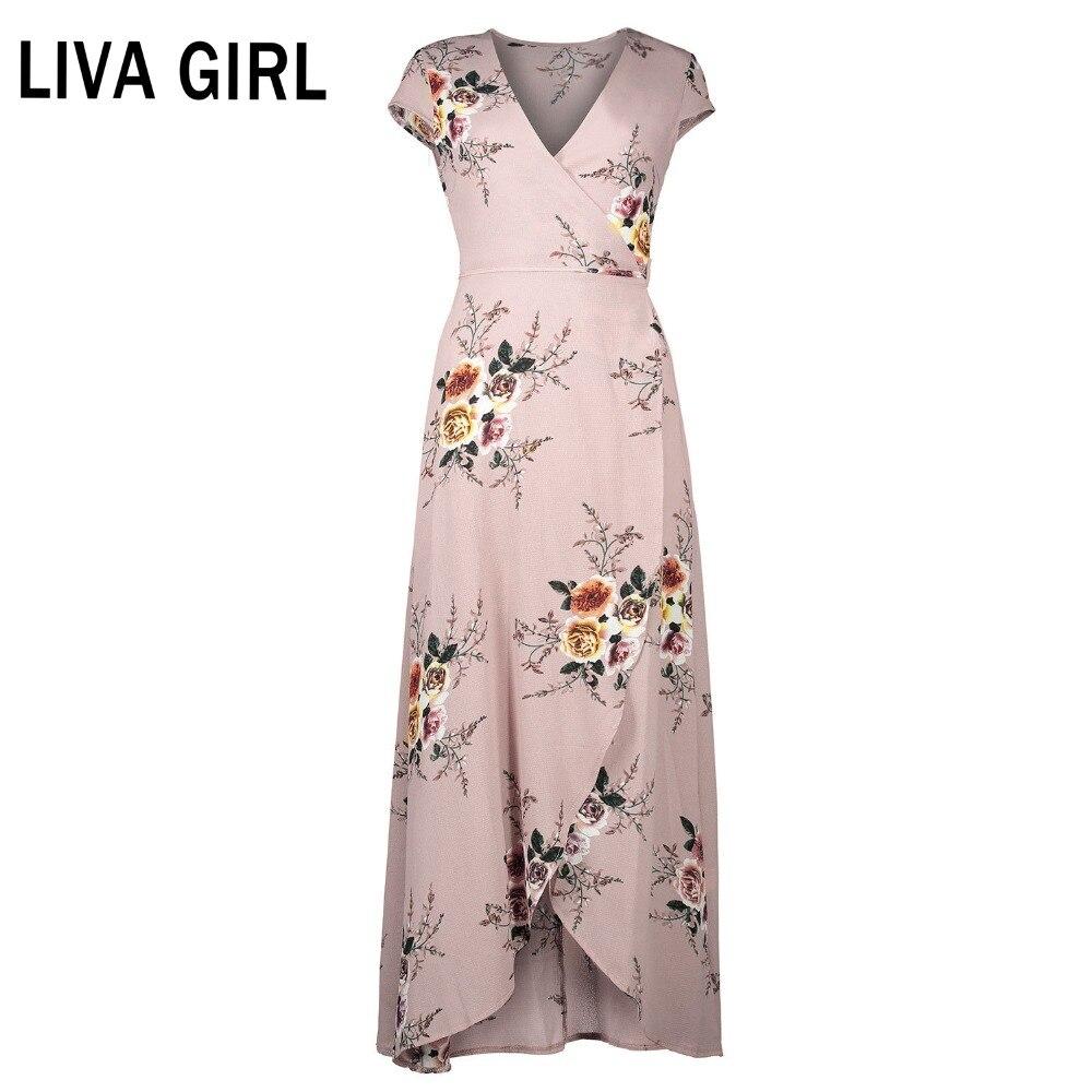 Outique Womens Long Dress Bohemian Casual Sleeve O-Neck Flower Print Maxi Tank Short Sleeve Side Pocket