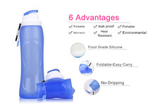 Collapsible silicone drink sports bottle camping travel bicycle folding water