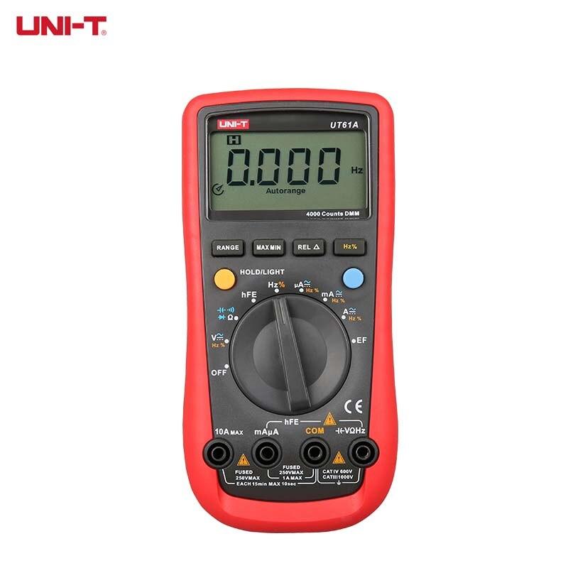 UNI-T véritable RMS multimètre numérique UT61A UT61B UT61C UT61D UT61E UNI T AC multimétros condensateur Transistor testeur de données pic