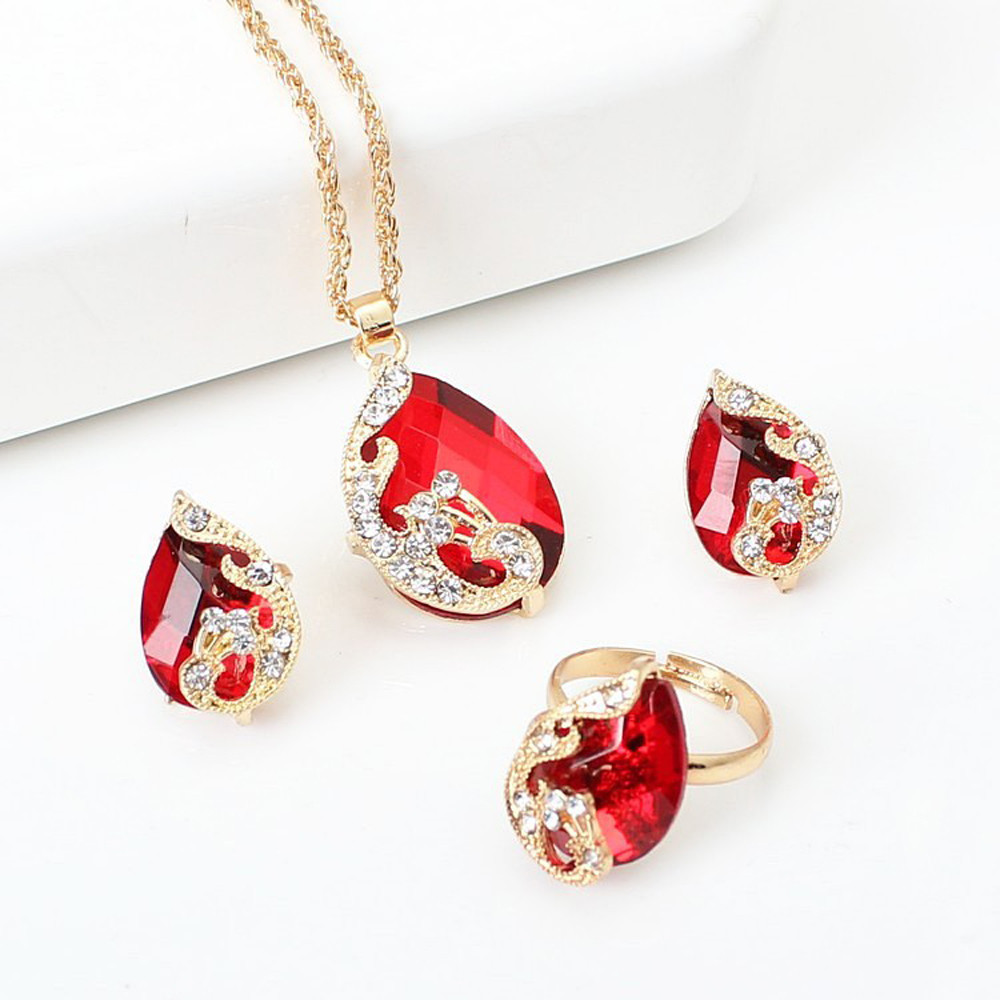 Austrian Peacock Crystal Set Earrings+pendant Necklace+adjustable Rings Jewelry Sets