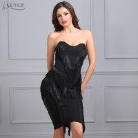 Adyce 2017 New Women Summer Bandage Dress Black Strapless Vestidos Tassel KneeLength Back Zipper Celebrity Evening