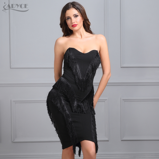 Adyce 2019 New Summer Celebrity Evening Party Dress Women Black Strapless  Vestidos Tassel Knee Length Back Zipper Bodycon Dress 15860f7b0bdb