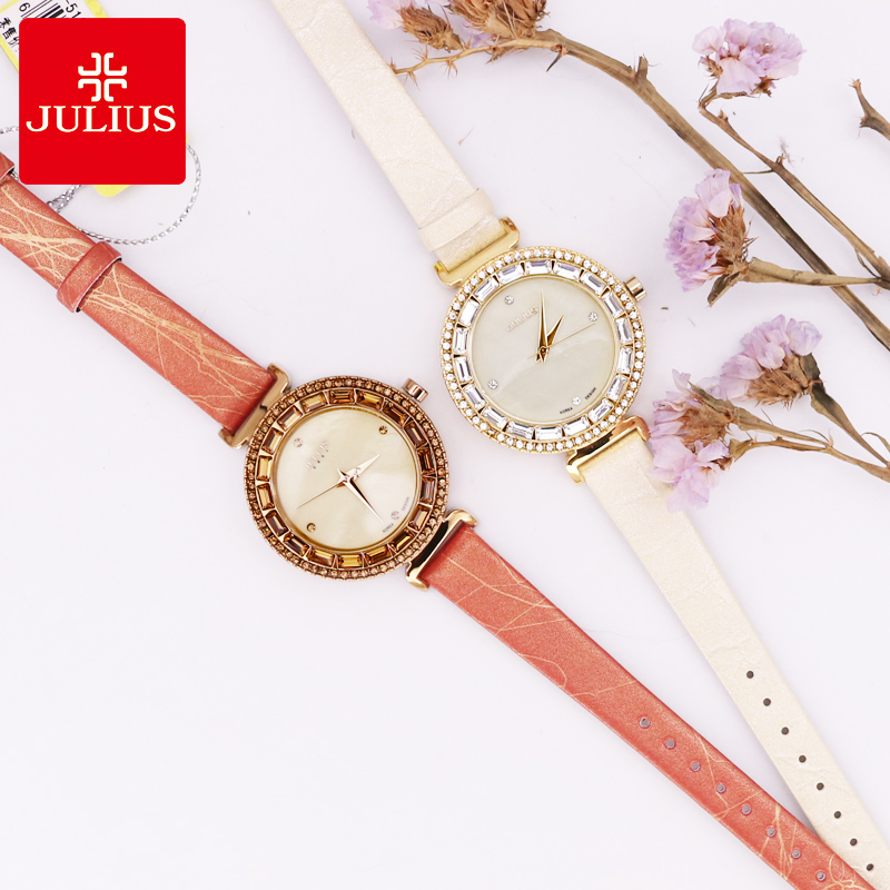 Julius Women's Watch Japan Quartz Mother-of-pearl Hours fine Fashion Woman Clock Leather Rhinestone Girl's Christmas Gift Box small claw setting mother of pearl julius women s watch japan quartz hour fine fashion woman clock chain bracelet girl gift box