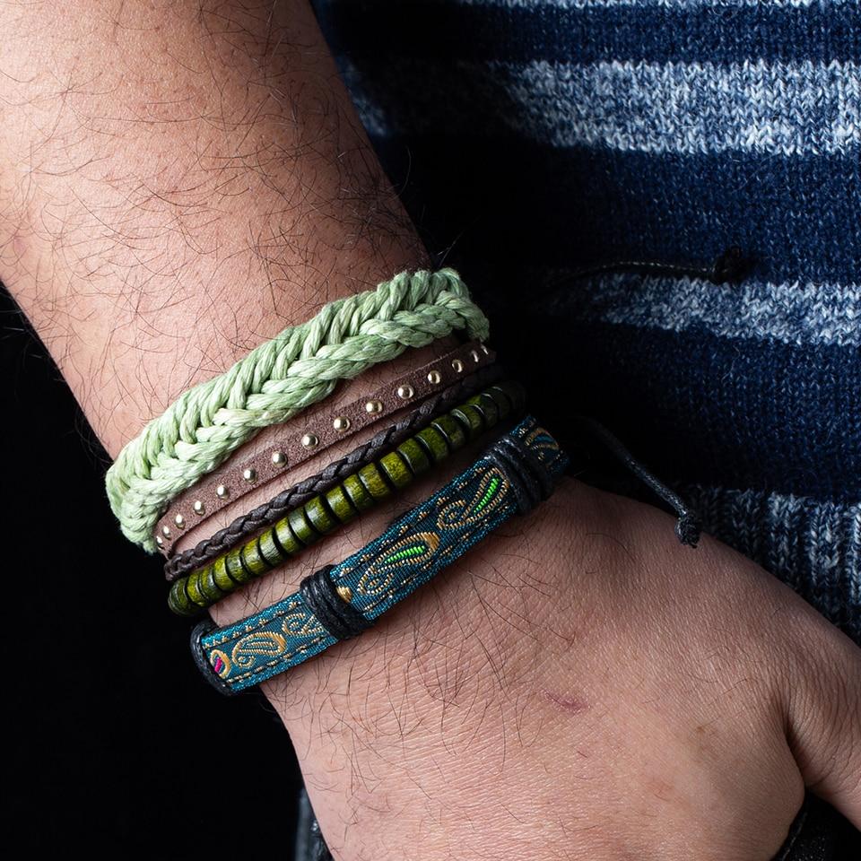 2020 New Fashion Black White Green Color Beads Bracelets Men Charm Multilayer Rope Chain Bracelet Male Wrap Metal Sport Bangles