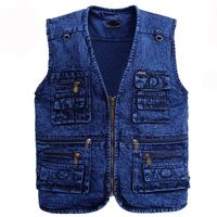 Men's vest Outerwear denim waistcoat deep blue color plus size sleeveless jacket Multi pocket size XL to 5XL