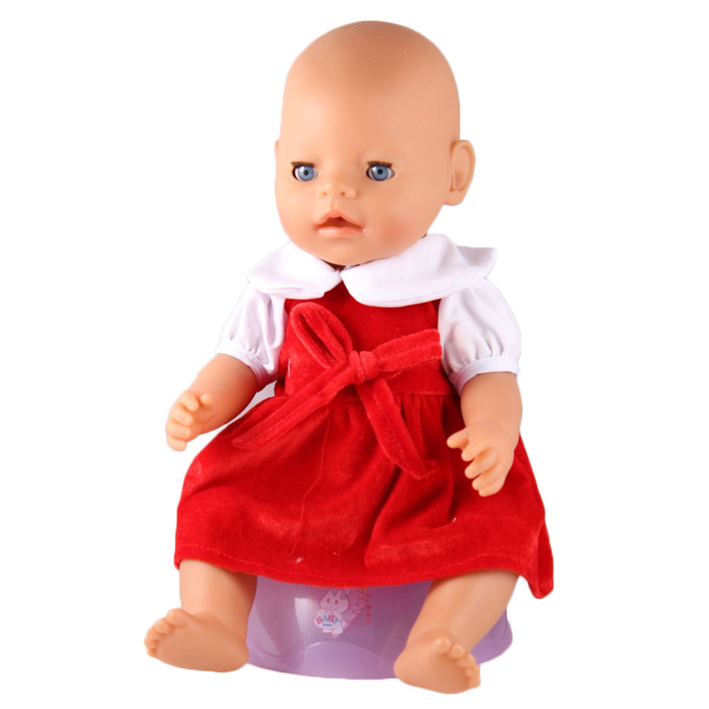 ZXZ Hot Red coral cashmere dress for 43cm newborn baby zapf doll clothes accessories