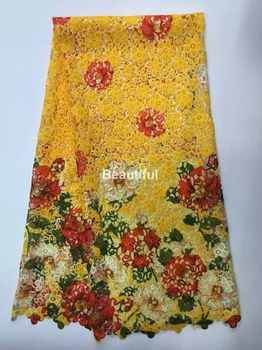 Hot sales plain color orange cord lace fabric printing lace for wedding/party african guipure lace fabric