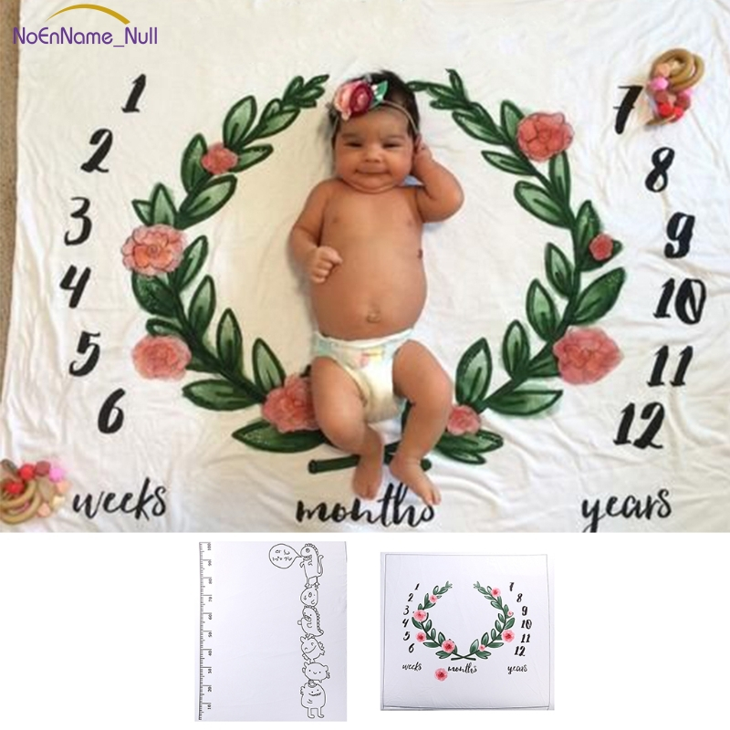 Fashion Newborn Baby Monthly Growth Milestone Blanket Letter Background Photography Prop APR16