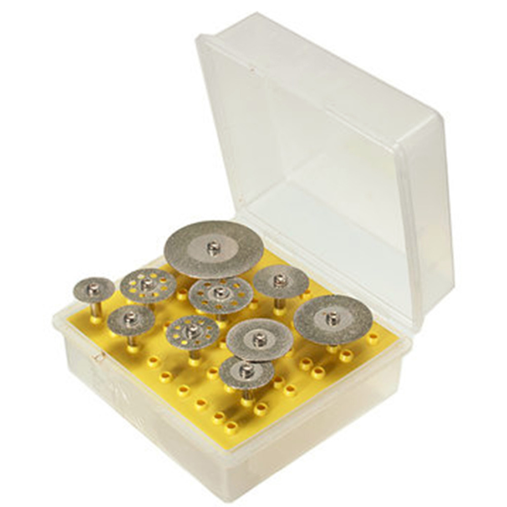 цена на 10pcs/set Diamond Cutting Discs Cut-off Hold Wheel Set For Dremel Rotary Tool Cutting / Grinding / Engraving Tools