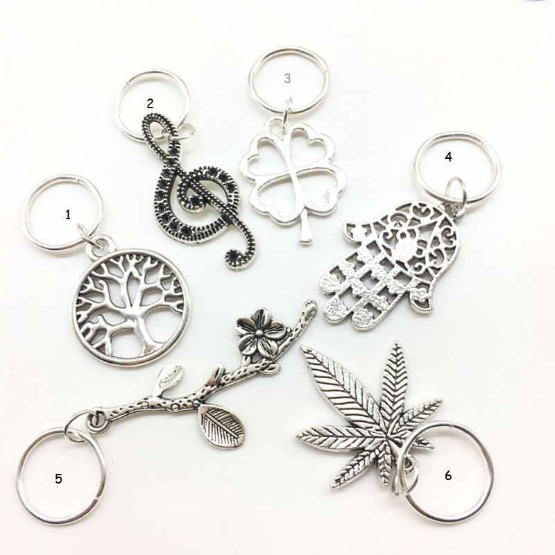 Pelo de plata accesorios de 5 piezas por juego por mucho de plata trenza de cabello Dreadlock del grano de la hoja 14mm agujero pelo amuleto de tubo de Dread