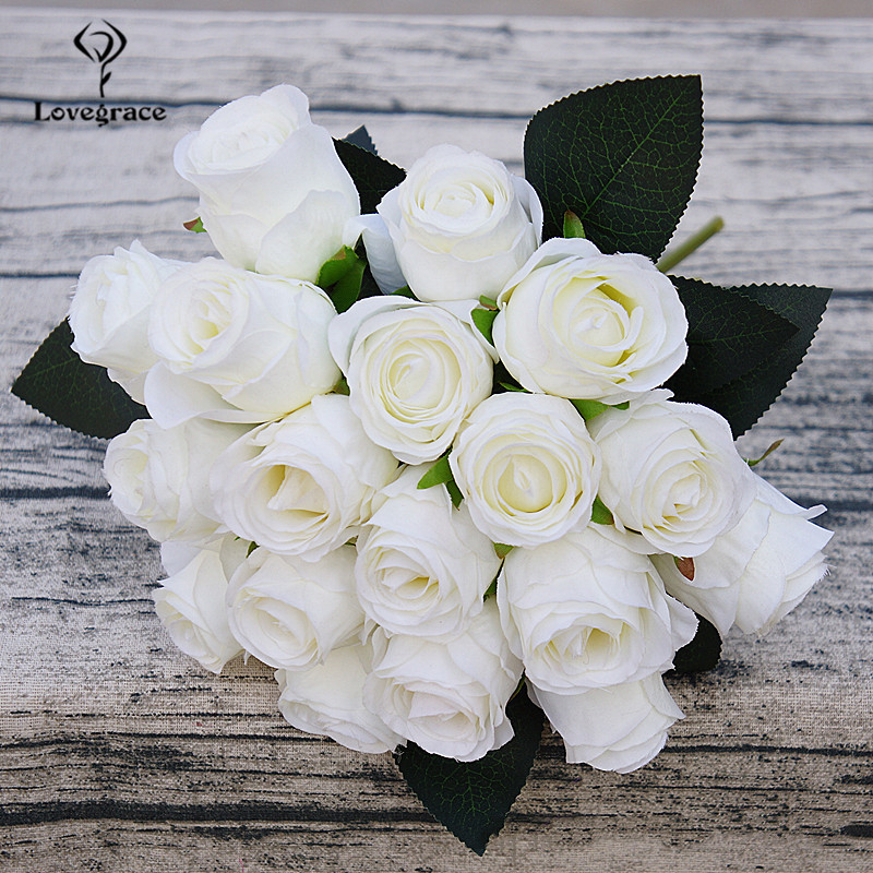 18 Heads Silk Artificial White Flowers Bouquet For Decorations DIY Bridal Flower Bouquet Mariage Rose Wedding Bouquets Lovegrace
