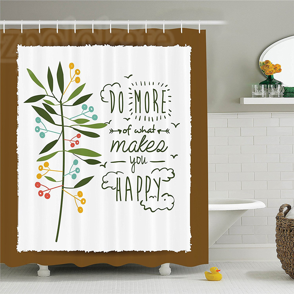 Quotes Decor Shower Curtain Set Progress Ideas Trendy Ideology Mindfulness Olive Tree Fruits Flying Birds Leaf Bathroom