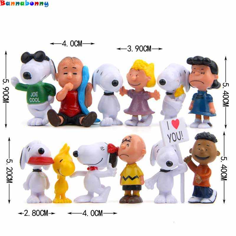 12 pçs/set Woodstock Charlie Brown E Amigos Beagle Animiation Amendoim Menina Kid Toy Action Figure Presente Toy Kid Modelo Em Miniatura