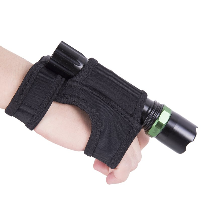 Outdoor Underwater Scuba Diving LED Torch Flashlight Holder Soft Black Neoprene Hand Arm Mount Wrist Strap Glove