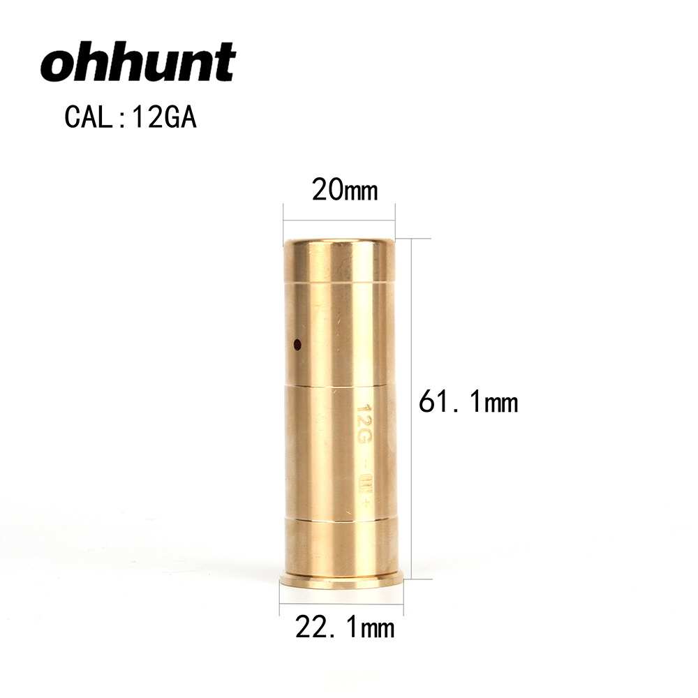Ohhunt 12 GAUGE 12 GA Cartridge Laser Bore Sighter Boresighter Red Sighting Sight Boresight For 12GA Shotgun