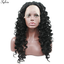 Sylvia 1B Black Curly Synthetic Lace Front Wigs For Black Women High Heat Resistant Natural Hairline Wig 180% Density Swiss L