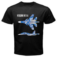New Sukhoi SU 34 Fighter Russian Jet Flanker Men's Black T Shirt Size S to 3XL
