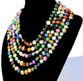 Wholesale Pearl Jewelry - 80 Inches Stunning Genuine Baroque Shape Multicolor Freshwater Pearl Necklace - Handmade