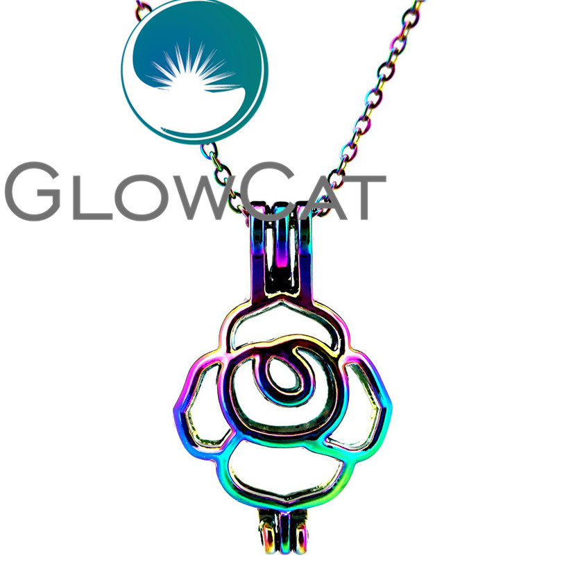 Rainbow Color Tulip Pearl Cage Pendant Charms //C734 5pcs Pack