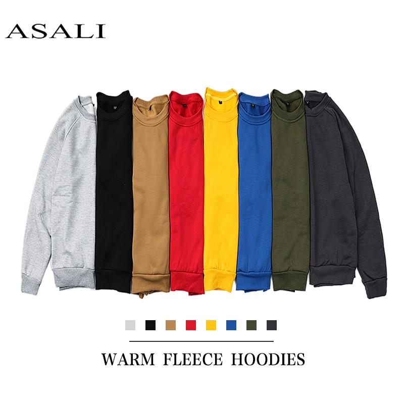 ASALI 2019 New Men Pullover Spring Autumn Fashion Mens Hoodies And Sweatshirts Long Sleeve Solid Sweatshirt Men US/Eur Plus Size