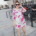 Plus Size Maxi Women Clothing Summer Dress Short Mini Oversized Half Sleeve Cartoon Character Print Chiffon Dress Robe Vestidos