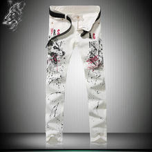 European and American style nightclubs fashion trends boutique jeans Personalized letters wolf printed quality White jeans men