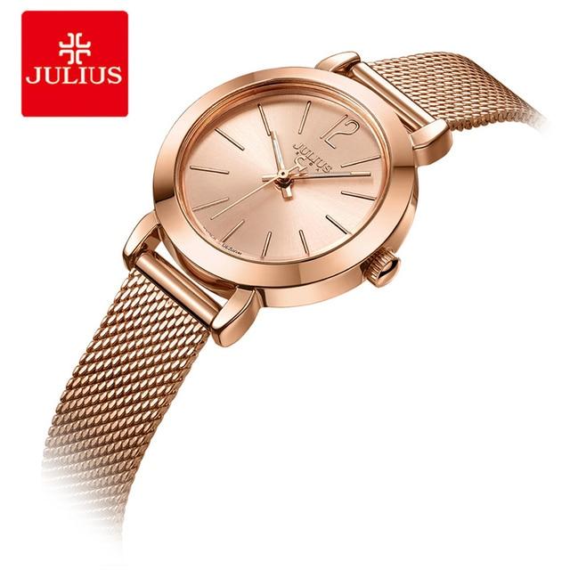 JULIUS Brand Women Watches Silver Rose Gold Stainless Steel Mesh Ladies Bracelet