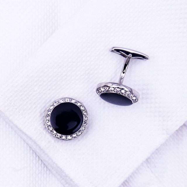 Kflk Jewelry French Shirt Black Cufflink Mens Crystal Cuff Link Round Button High