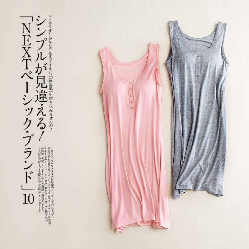 Summer New Padded Bust  Sleepwear Sexy Sleeveless Ladies Nightdress Cotton Women's Nightgown Sexy Night Gown Women Nightwear