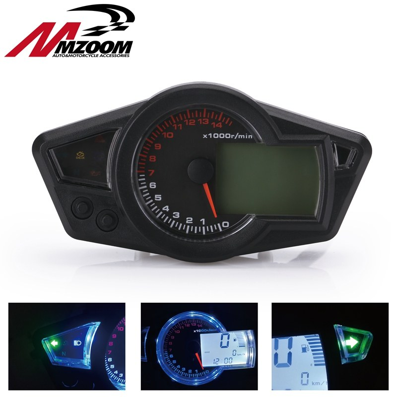 15000rpm Modern Motorcycle Digital Light LCD Digital Gauge Speedometer  Tachometer Odometer Adjustable Motorcycle 7 color