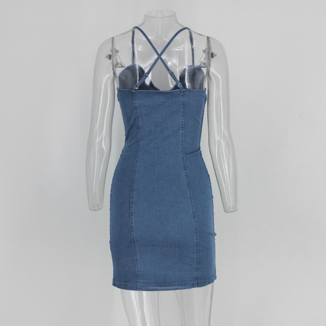 Spaghetti Strap Blue Denim Dress