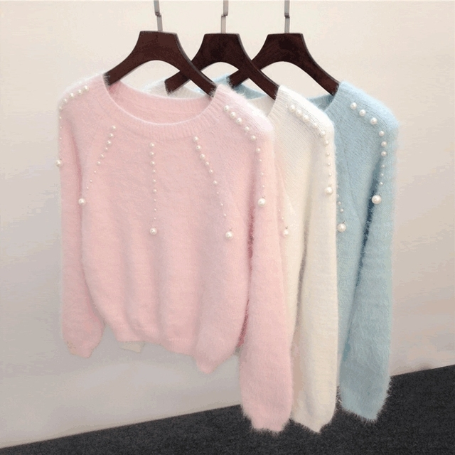 New 2016 Autumn Winter Women Sweaters Pullovers Beading O-neck Knitted Sweaters Sweet Cashmere Pullovers Warm Knitwear Z32