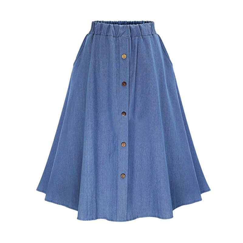 Moda koreański styl spódniczki dżinsowe kobiety długie stałe przycisk harajuku spódnica na co dzień wysokiej talii kobiece Big Hem Jean spódnica 2018 nowy f2