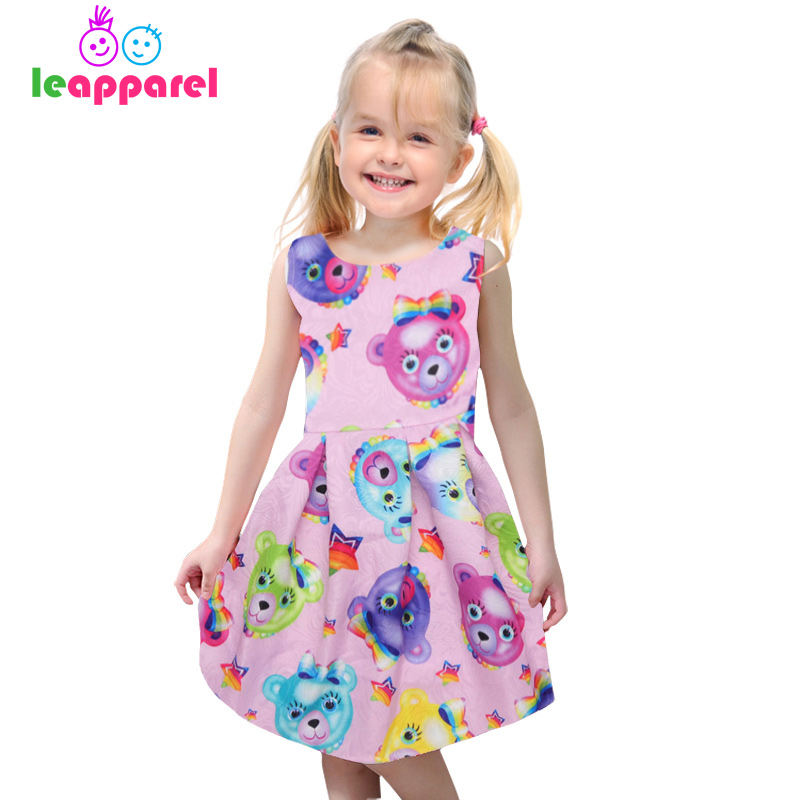 Leapparel 2018 Summer Kid Cute Cartoon Bowknot Bear Party Princess Dresses Children Sleeveless Clothes Girls 3D Print Tutu Dress