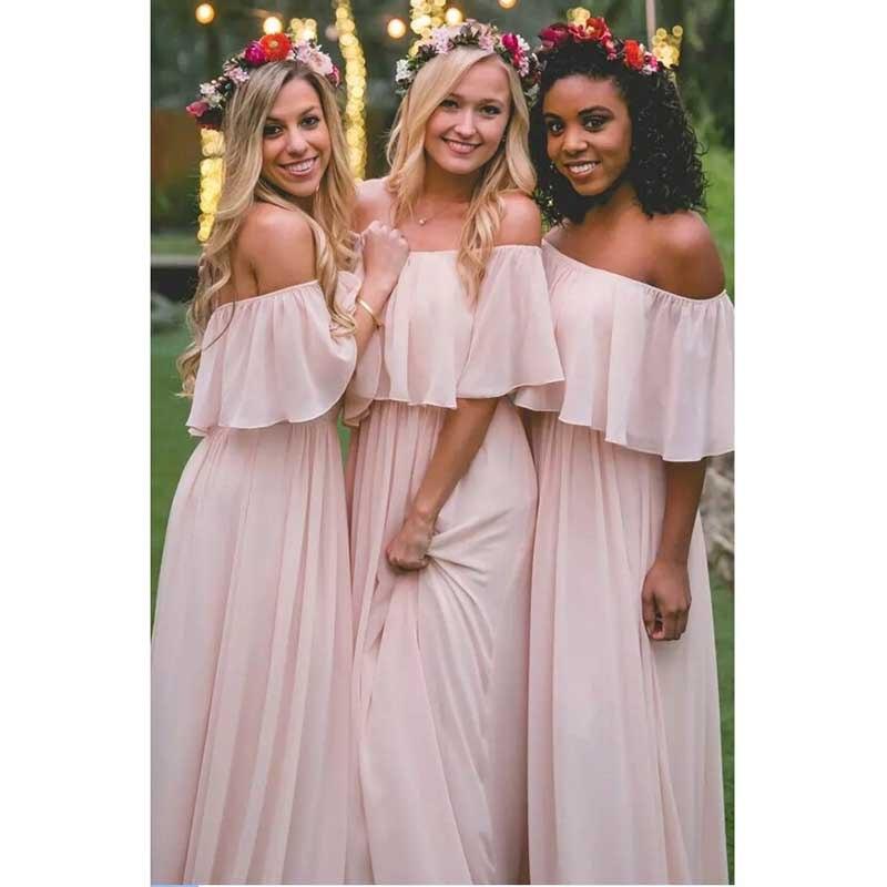 2017 New Vintage Blush Pink Bohemian Bridesmaid Dresses
