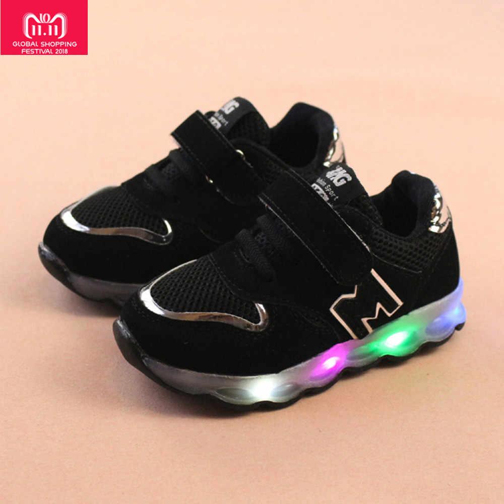 Luminosa zapatillas de deporte de carga usb cesta led chico zapatos halloween luz zapatillas de deporte de los niños botella de agua para niños chico s #25