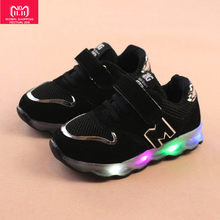 luminous sneakers usb charging basket led kid shoe halloween light up sneakers boys water bottle for children kids #25(China)
