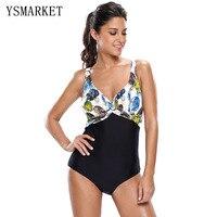Sexy Beach Swimsuit Women Back Criss Cross Swim Bodysuit Bathing Suit Backless Printed Swimwear Female Maillot