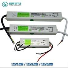 Led driver waterproof IP67 AC/DC 220V to 12V Power Supply lightingTransformer Switch Aluminum 10W 20W 30W for led strip Lights