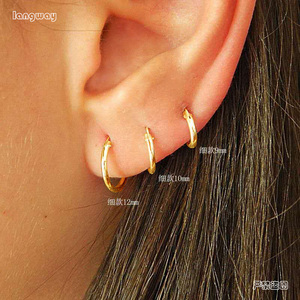 Simple Golden/Gold Color Ear Bone Hoop Earrings For Women Gold Color 925 Sterling Silver Small Round Circle Earrings Hoops