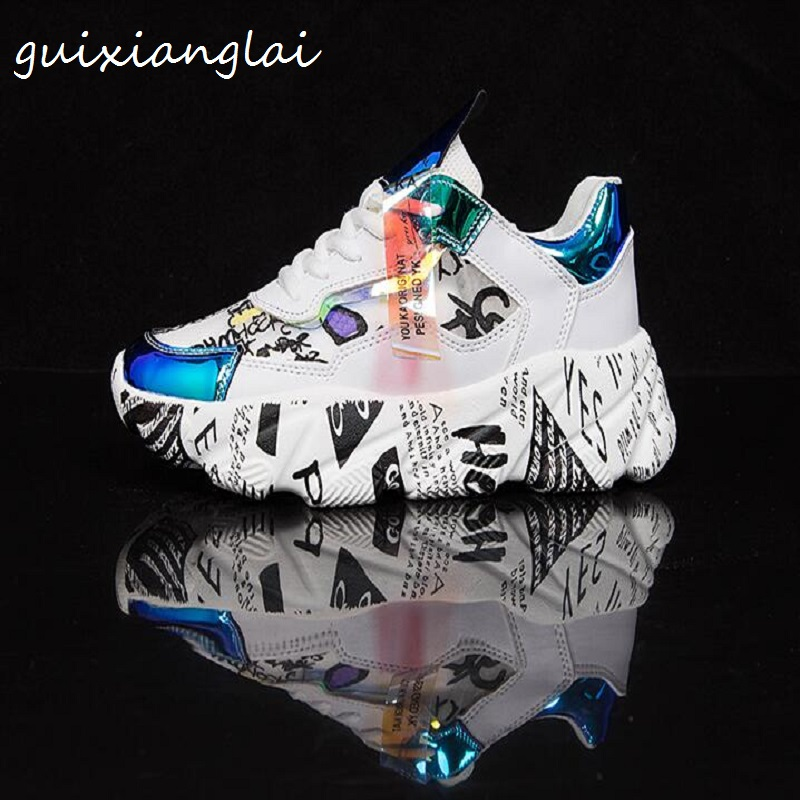 Newspaper Bottom Old Shoes Female 2019 Summer New Mesh Laser Color Matching Thick Bottom Wild Casual Graffiti White Shoes